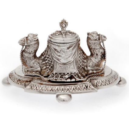 Silver Plated Ink Stand Featuring Two Back to Back Camels